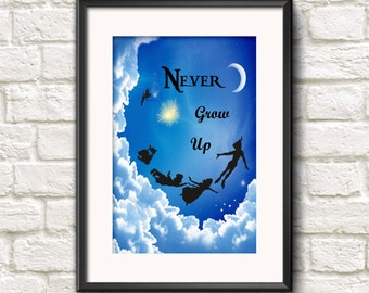 Inspirational Neverland Peter Pan Quote Never Grow Up Art Print INSTANT DIGITAL DOWNLOAD 300 dpi Bright Wall Hanging Great For Kids Room