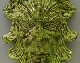 Pistachio Green Man Plaque--Hand-Painted--Glazed Ceramic Bisque--Home-Patio-Garden Decor--Seasonal-Year Round Usage