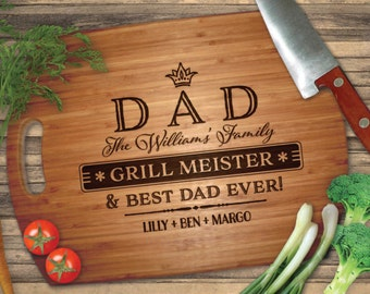 """Personalized Engraved Cutting Board, Dad Grill Best Dad Ever, Bamboo Wood Cutting Board, Engraved // Father's Day, Birthday Gift - 16""""x12"""""""