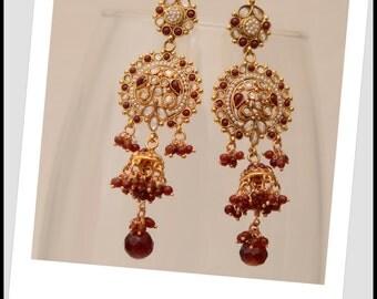 Kaundinya Earrings - Red kundan and Pearl Tiered Earrings