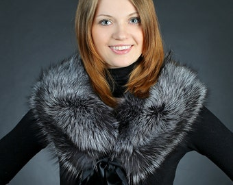 Silver Fox Fur Collar Short
