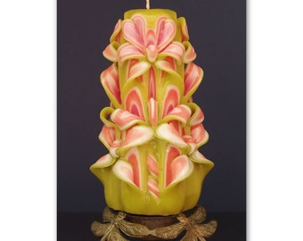 Hand-carved candle