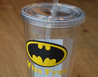 Personalized Batman Acrylic Tumbler- Superhero Cup with straw