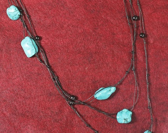 Jewelry for Bema Turquoise Stone with Black Beads Wrap Necklace