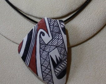 """Southwest Indian Pottery """"Potsherd"""" Wearable Gourd Art, necklace or pin"""