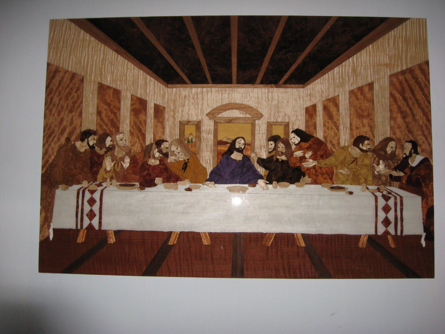 the last supper wood marquetry wall art by