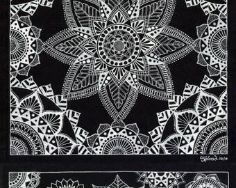 White Acrylic Mandalas A3 Print