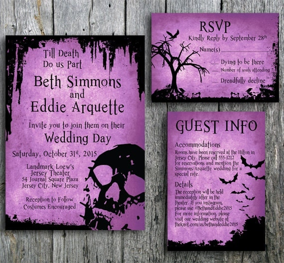 halloween wedding invitation suite with skull by