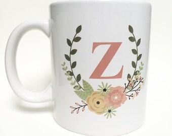 Floral monogram mug! 11oz - printed
