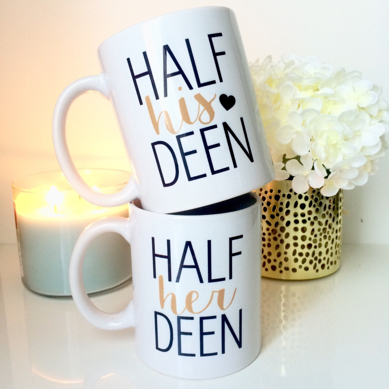 His And Her Wedding Gifts Ideas : Set Half his deen & half her deen couples mug duo