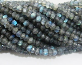 """AAA -Beautiful Outstanding - 4 to 5mm Blue Flashy Strong Fire LABRADORITE Beads Dark color 13"""", Faceted Gemstone beads sold per Strand"""