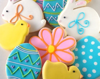 Easter Bunny Chick Egg Sugar Cookies - one dozen Easter Sweet Treats