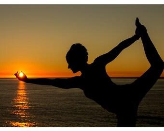 Yoga Sunset - Lord of the Dance - Warrior Pose - La Jolla Beach - San Diego - Power - Balance - Control - Yoga Pose - Photo Print