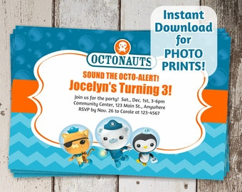 Octonauts Birthday Party Invitation - Instant digital file invite download - Can use to order photo prints! (printable on card stock, too!)