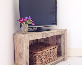 Handmade Rustic Corner Table/Tv Stand. Reclaimed and recycled wood