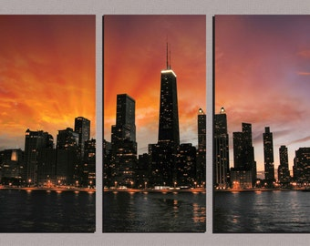 Chicago Sunset Skyline Canvas Art Framed Huge 3-Panel Canvas Gallery Wrap