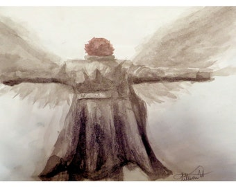 Watercolor BBC Sherlock Giclee Print, Side of the Angels, Reichenbach Fall Inspired