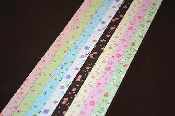 Origami lucky star paper strips cute floral mixed print diy for Diy lucky stars