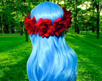 Full head roses flower crown red coral or yellow