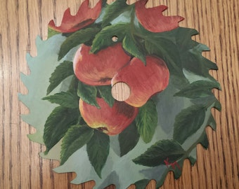 "Painted Saw Blade ""Meet Me Under The Apple Tree"""
