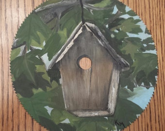 """Painted Saw Blade """"Welcome Home"""""""