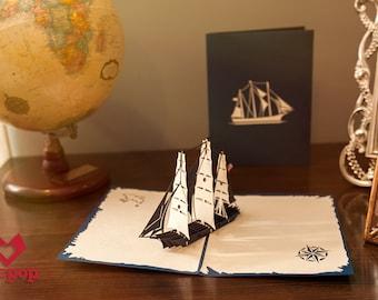 Clipper Ship Card, Young America Ship Pop Up Card, Ship Birthday Card, Bday Card, Sailor Card, Nautical Gift, Maritime, Navy, Farewell Card