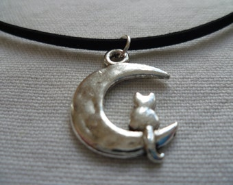 moon choker,cat and moon,moon necklace,silver moon,cat necklace,celestial,suede choker,black choker,moon jewellery,cat jewelry,,