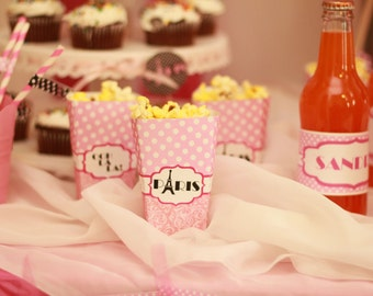 Paris Party- Paris Birthday, Paris Party Decorations, Paris Birthday Party, Paris Popcorn Box
