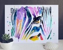 Zebra Pattern Watercolor Print - Art Poster - Animal rint -  Abstract paintnig - Illustration