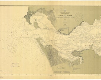 Columbia River Map & Astoria Oregon 1913