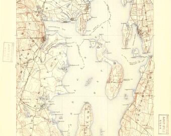 Narragansett Bay Map - 1892