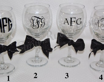 four monogrammed 20oz red wine glasses with vinyl lettering