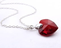 Ruby Necklace, Crystal Heart, Birthstone Necklace With Ruby Crystal Pendant, Sterling Silver, Swarovski Elements Heart Crystal Ruby Necklace