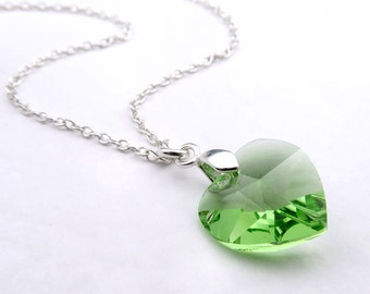 Peridot Necklace, Crystal Heart Pendant, Sterling Silver, Peridot Swarovski Elements Crystal, August Birthday, Heart Jewelry