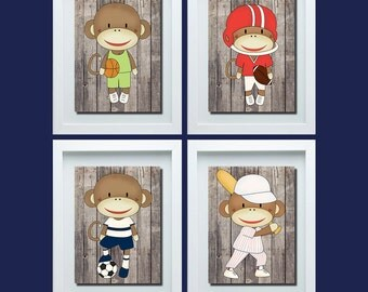 monkey nursery decor sports decor monkey nursery art sports nursery decor boys. Interior Design Ideas. Home Design Ideas