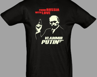 Putin T Shirt Russia James Bond 007 USSR Black Tee S - 5XL