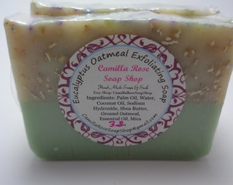 Eucalyptus Oatmeal Exfoliating Cold Process Handmade Soap