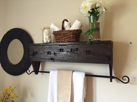 reclaimed wooden towel rack with shelf hand by rusticfunction. Black Bedroom Furniture Sets. Home Design Ideas