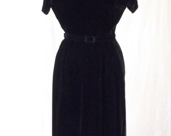 1940's-50's  Glam Soft Black Velvet Dress