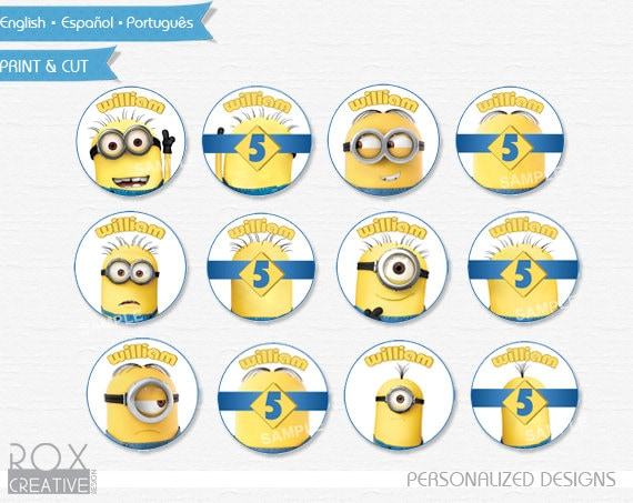 Minions Birthday Cupcake Toppers Minions Favor Tags Napkin