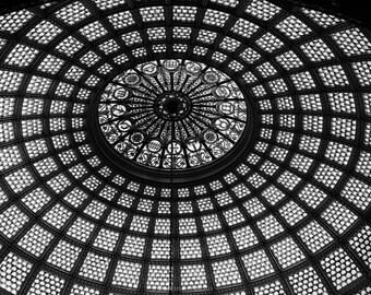 Chicago black and white photograph Tiffany Dome Chicago Cultural Center Chicago photography wall art