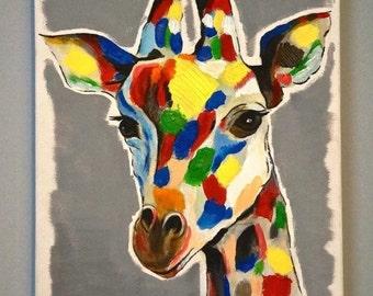 Painting acrylic giraffe effect relief original A3 format
