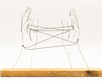Cats Cradle Hands wire art sculpture