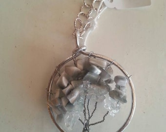 Steel chain necklace, with tree of life pendant
