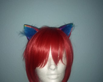 Cosplay Kitty Cat Ears Rainbow Multi-color finish