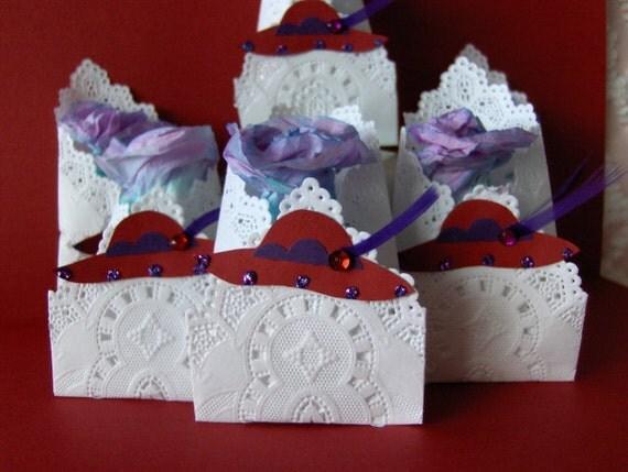 Red hat tearose envelope party favors rose shaped tea bag