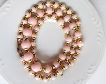 Avon vintage gold and pink beads statement necklace and bracelet,