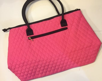 Pink/Black Quilted Large Tote
