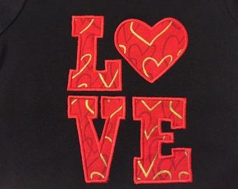 Valentine's Day-LOVE block with heart Valentine's T-Shirt