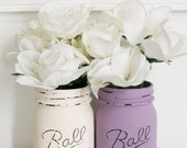 Painted Distressed Mason Jars - Purple and Cream - Wedding Centerpiece - Home Decor - Rustic Wedding - Flower Vase - Office Organizer